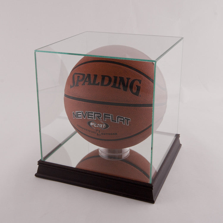 Glass Basketball Display Case with Black Base