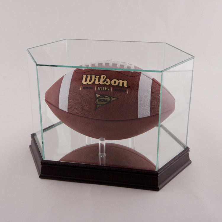 Glass Football Display Case With Black Base