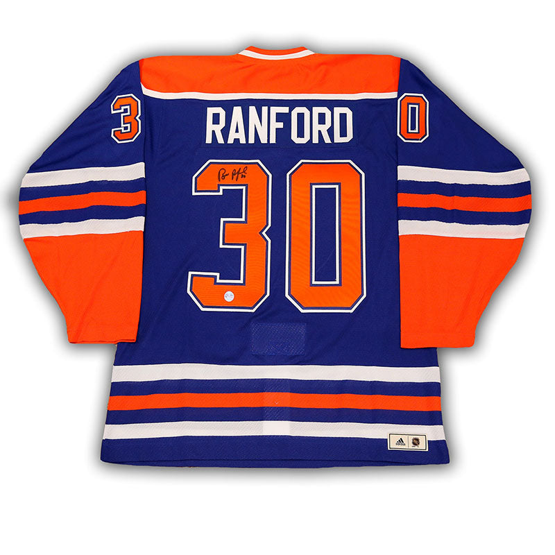 Bill Ranford Edmonton Oilers Signed Blue adidas Vintage Pro Jersey