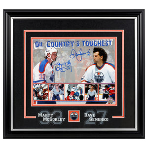 Dave Semenko & Marty McSorley Edmonton Oilers Dual Signed Framed 8x10 Photo