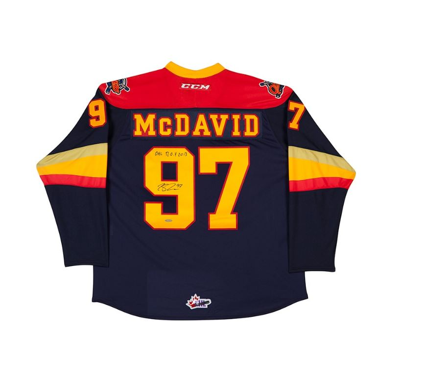 Connor McDavid Erie Otters Autographed/Inscribed Blue CCM Jersey