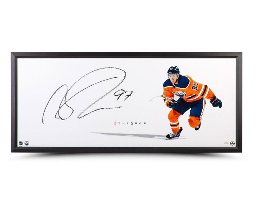 Connor McDavid Edmonton Oilers Signed 20x44 Framed Photograph