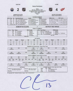Andrew Cogliano Autographed First Goal Game Sheet
