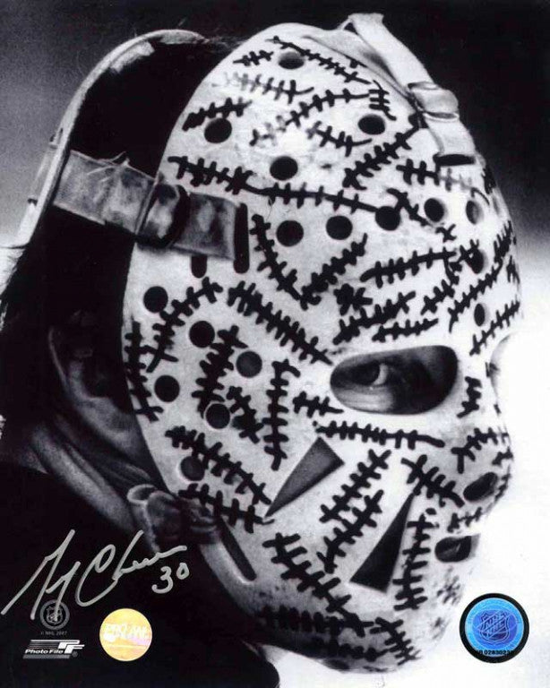 Gerry Cheevers Boston Bruins B&W Mask Side View Signed 11x14 Photograph