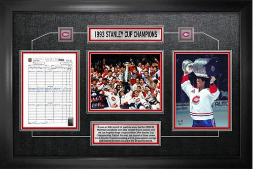 Montreal Canadiens 1993 Stanley Cup Framed Scoresheet Collage