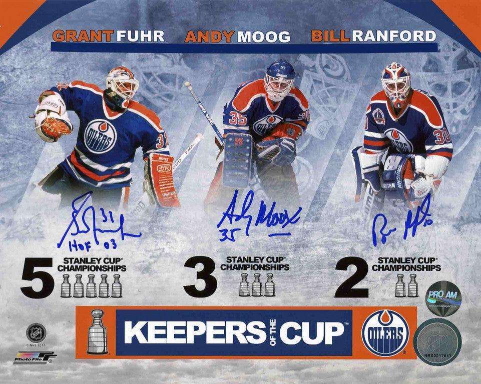 Moog, Fuhr, & Ranford Edmonton Oilers Triple Signed 8x10 Photo
