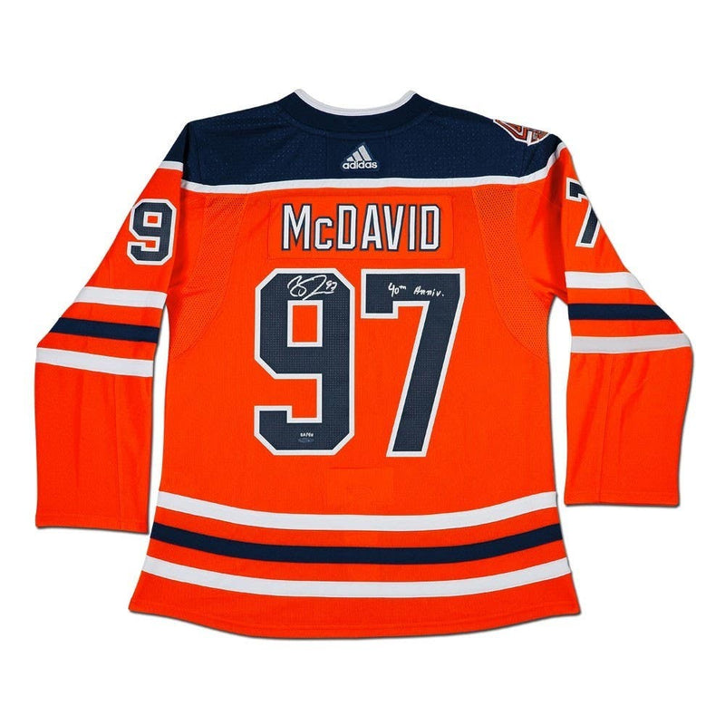 Connor McDavid Edmonton Oilers Autographed/Inscribed 40th Anniversary adidas Pro Jersey