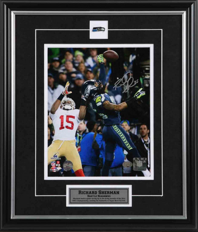 Richard Sherman Seattle Seahawks NFC Championship Tip Signed 8x10 Photo