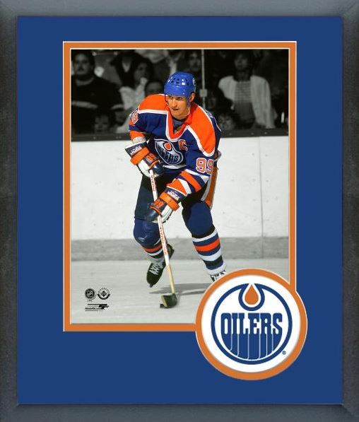 Wayne Gretzky Edmonton Oilers Team Logo Mat Framed 8x10 Photo