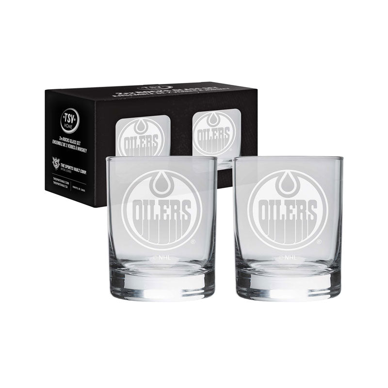 Edmonton Oilers Etched Rocks Glass Set (2 Pack)