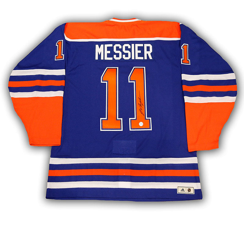 Mark Messier Edmonton Oilers Signed Blue adidas Vintage Pro Jersey