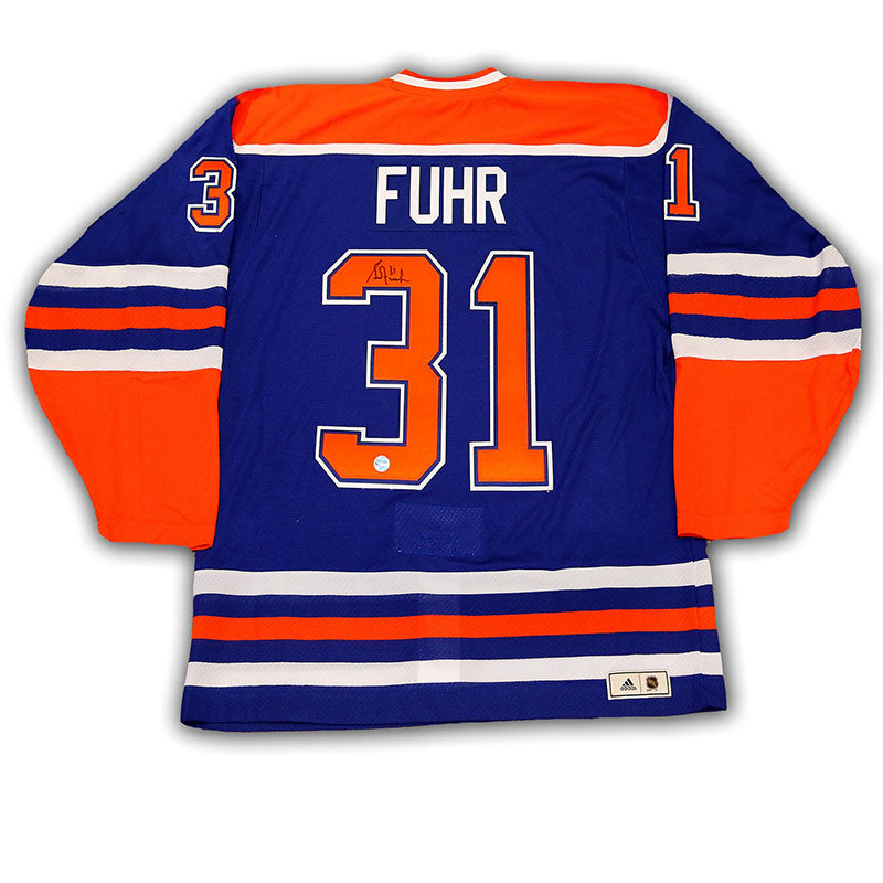 Grant Fuhr Edmonton Oilers Signed Blue adidas Vintage Pro Jersey