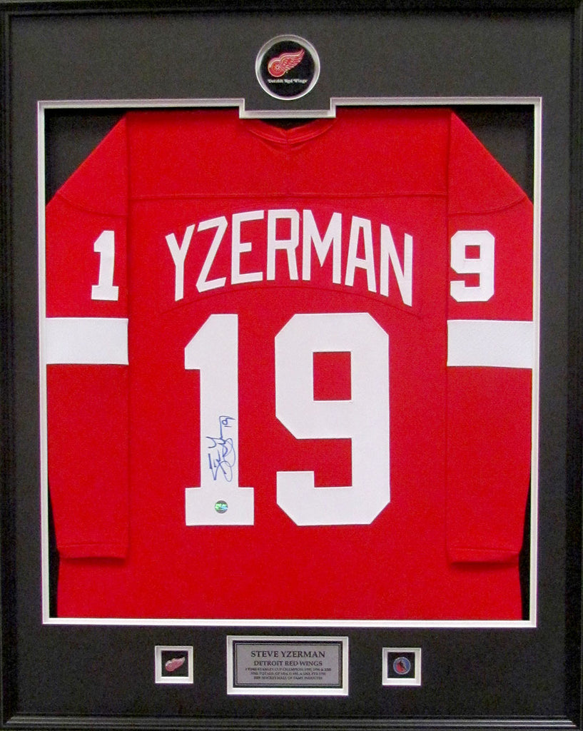 Steve Yzerman Detroit Red Wings Signed Red Replica Jersey Standard Frame