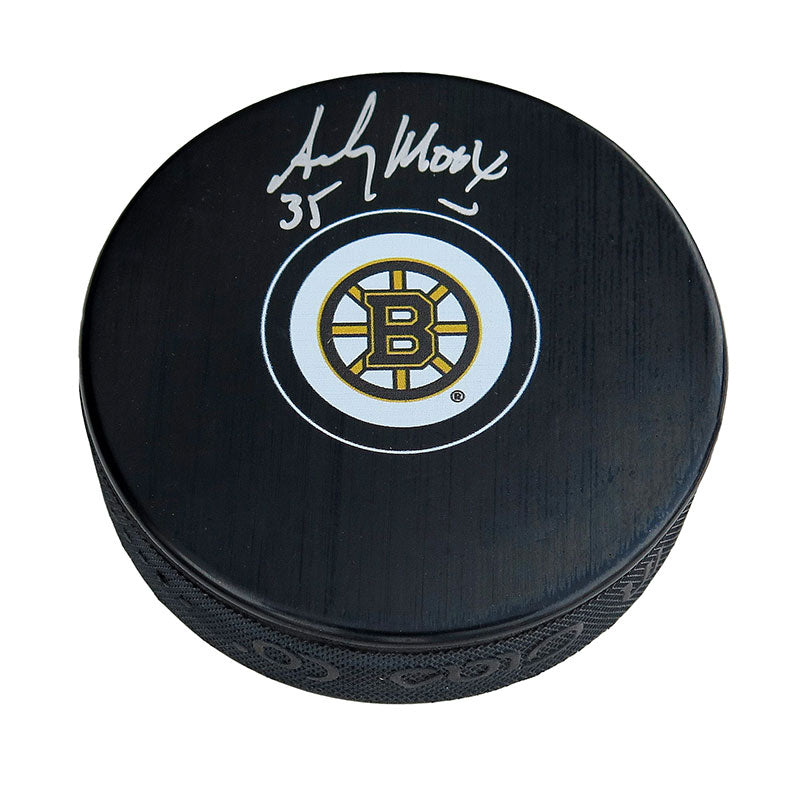 Andy Moog Boston Bruins Autographed Puck