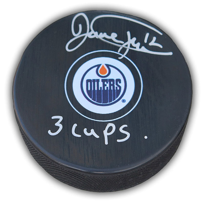 Dave Hunter Edmonton Oilers Autographed Puck