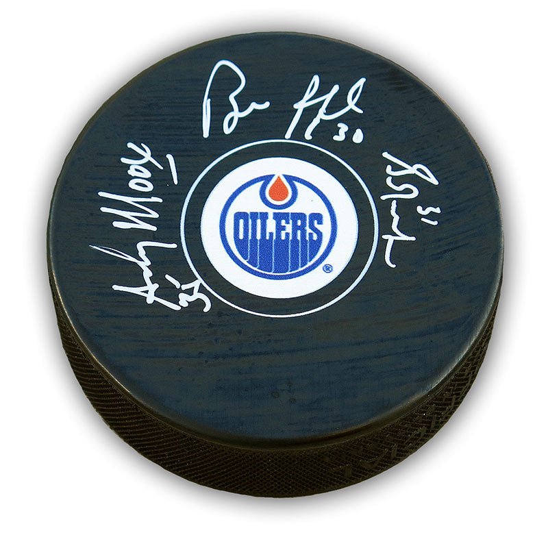 Grant Fuhr, Andy Moog, Bill Ranford Triple Signed Edmonton Oilers Puck