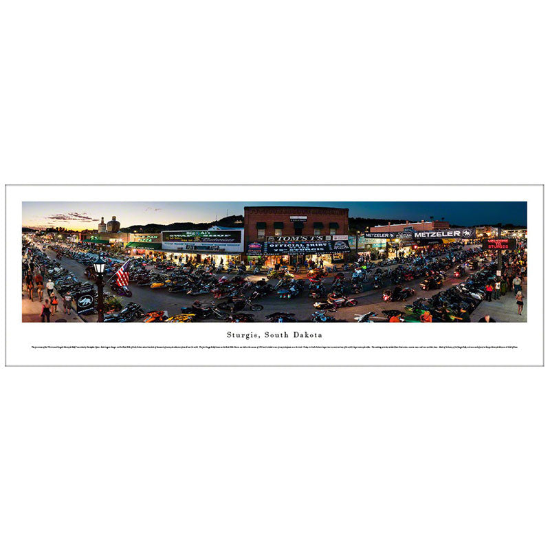 Sturgis, South Dakota Motorcycle Rally - Twilight Panoramic Print