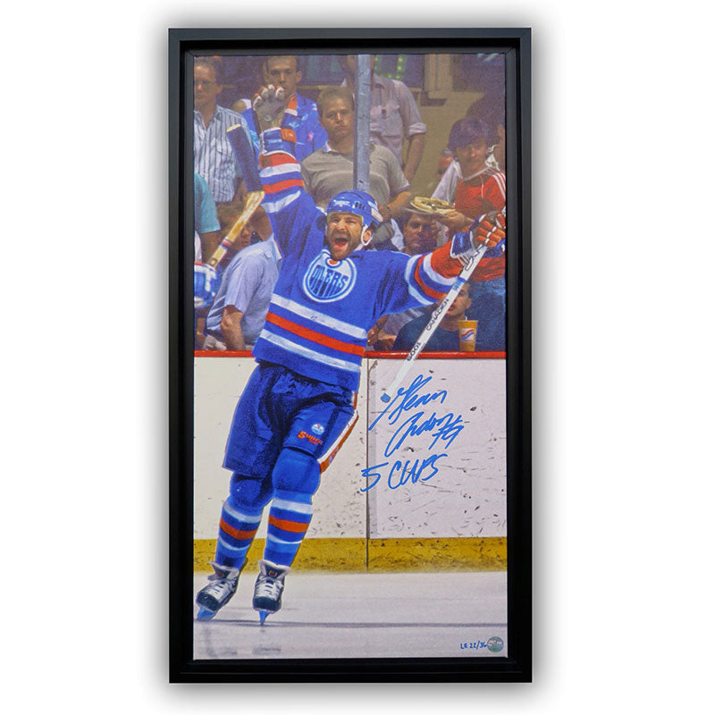 Glenn Anderson Edmonton Oilers Autographed & Inscribed 14x28 Canvas Frame LE/36