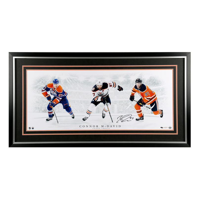 Connor McDavid Edmonton Oilers - Triple Threat - Signed Framed Photo