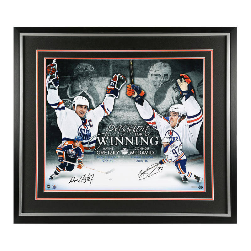 Wayne Gretzky/Connor McDavid Edmonton Oilers Autographed 20x24 Framed Photo