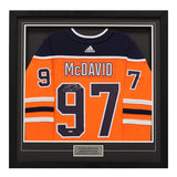 Connor McDavid Edmonton Oilers Signed Orange Pro Jersey Basic Frame