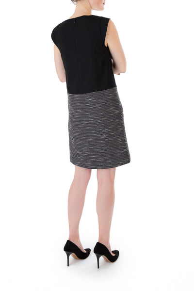 THE BLACK-INKWELL COMBO CAP-SLEEVE TUNIC DRESS