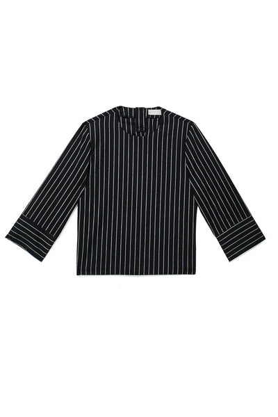 THE PINSTRIPE NO-BUTTON-DOWN SHIRT