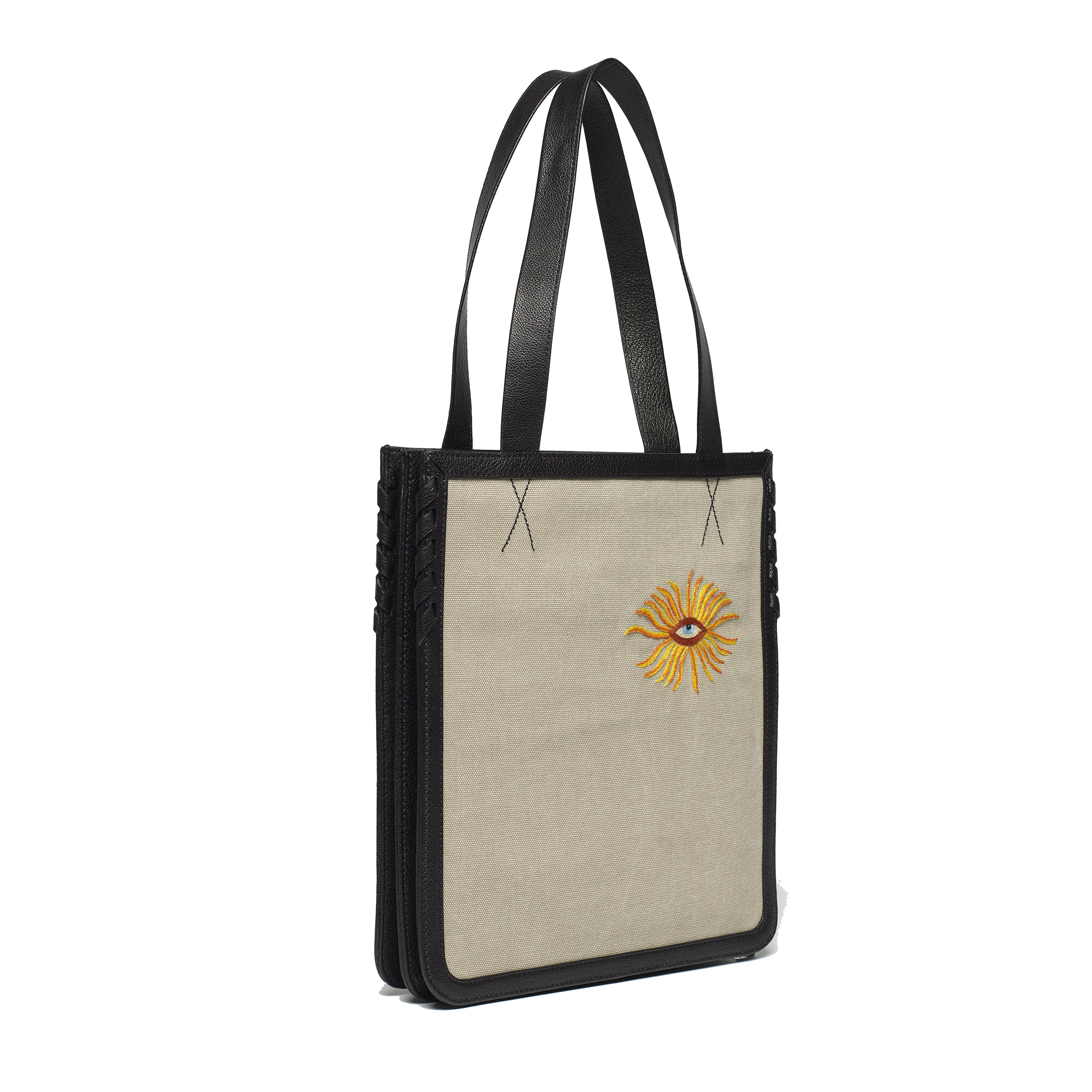 Hell to Texas Small Tote, Gray Canvas Embroidery