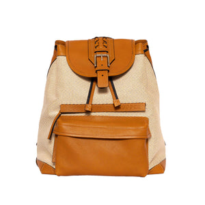 Backpack Mustard/White/Blue Canvas and Honey Leather