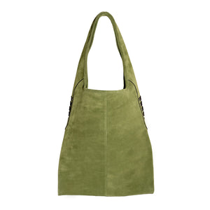 High Rider Tote in Sage Green Suede