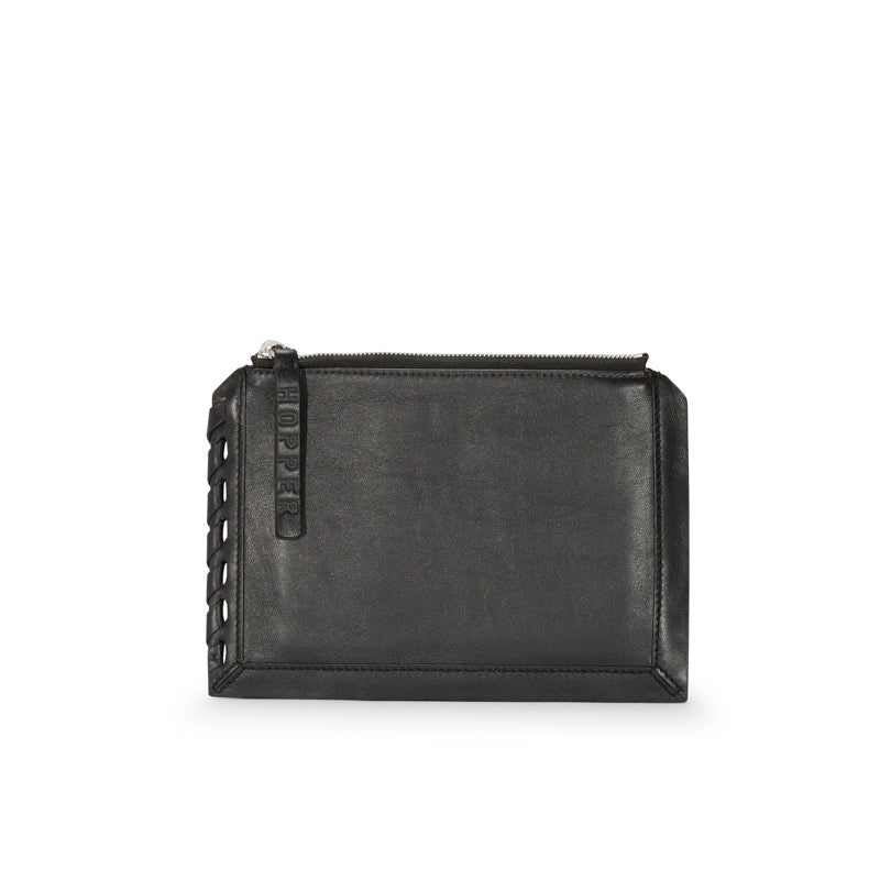 Mini Zip Pouch in Black Natural Leather