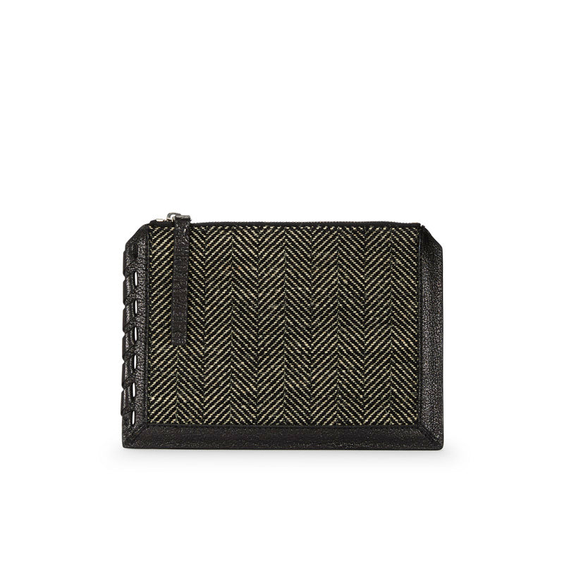 Mini Zip Pouch Black/White Herringbone