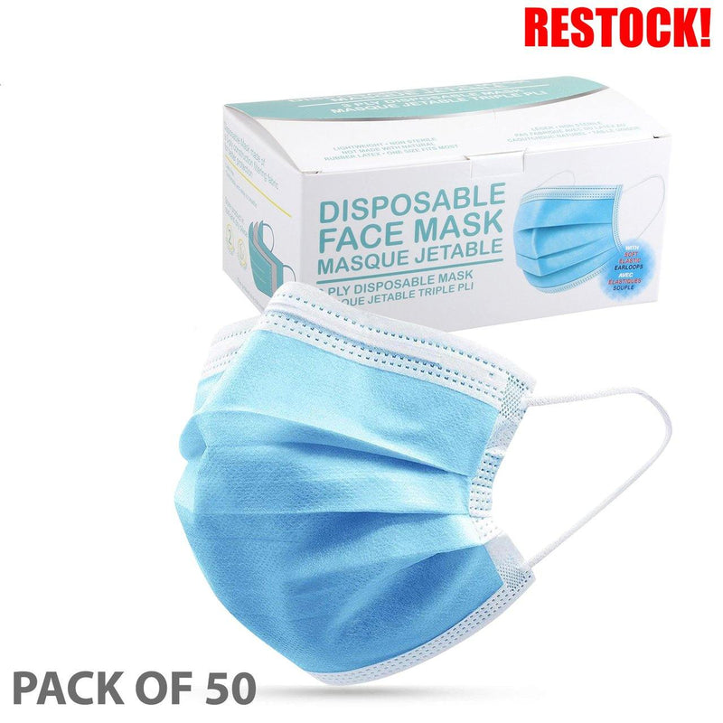 3 PLY DISPOSABLE MASKS BOX OF 50 ***IN STOCK***