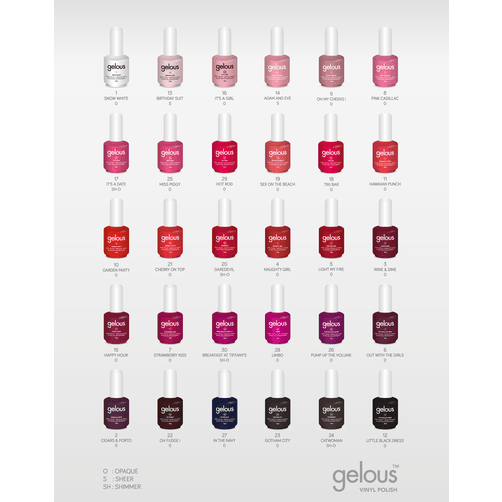 VINYL POLISH COLOUR CHART - NAILS ETC