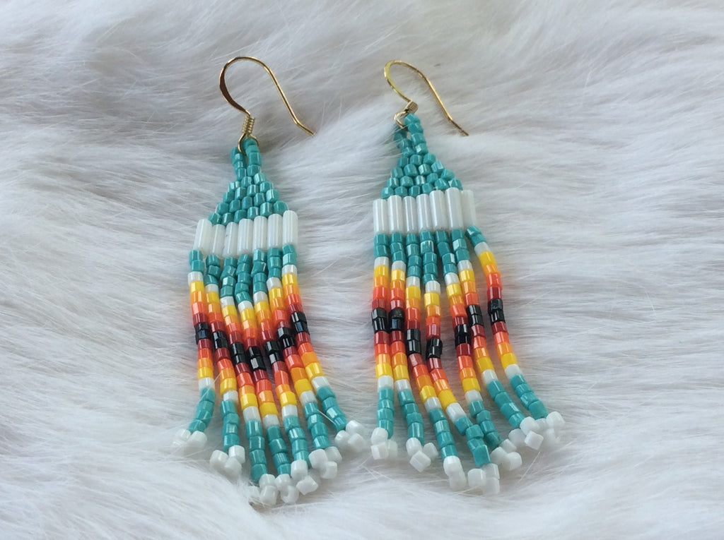 Turquoise/Fire Color Beaded Fringe Earrings