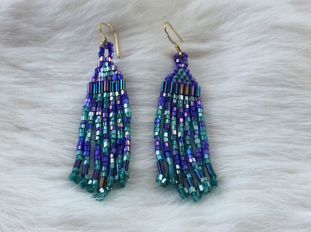 Purple/aqua Beaded Fringe Earrings