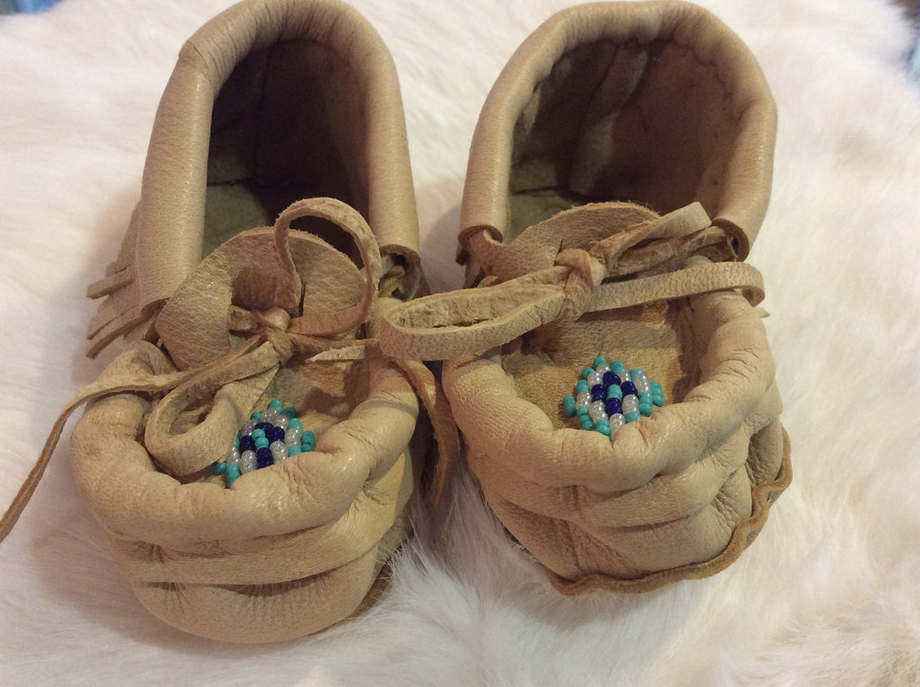 Beaded Baby Moccassins Blue