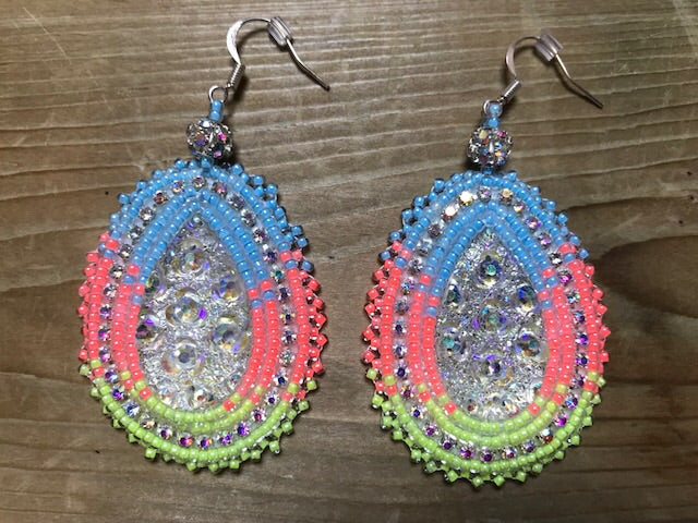 Large beaded oval earrings - by Rachel Panamick - created offsite