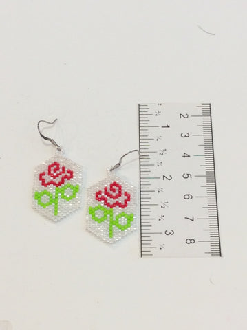 Brick stitch rose earrings