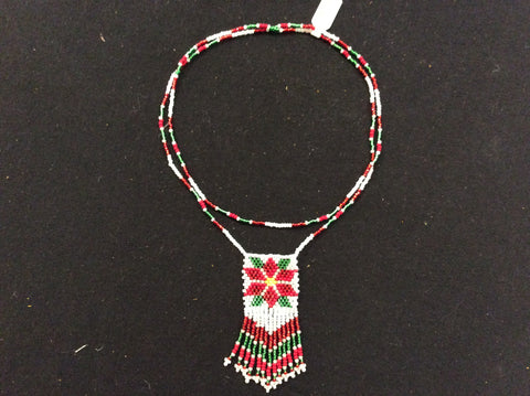 Single strand necklace w/ poinsettia fringed detail