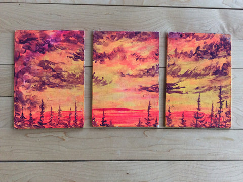 "3 piece set ""Lake of Fire"" by Dustin Roy Madahbee"