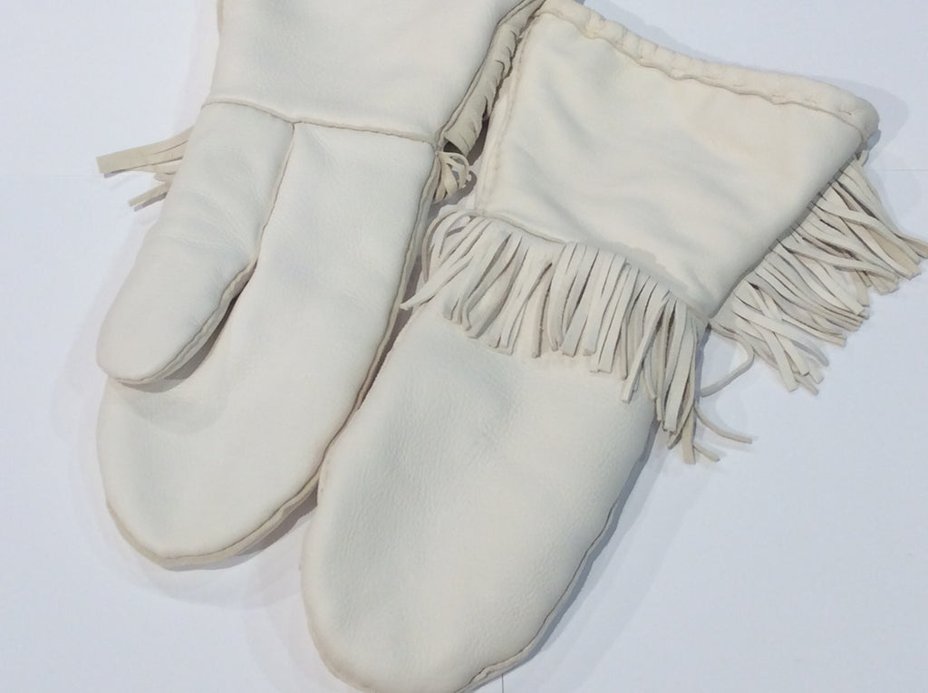 White leather long mitts