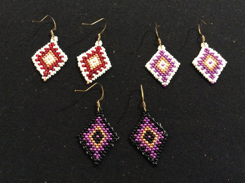 Diamond brick stitch earrings