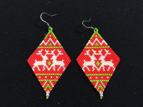 Double reindeer brickstitch earrings