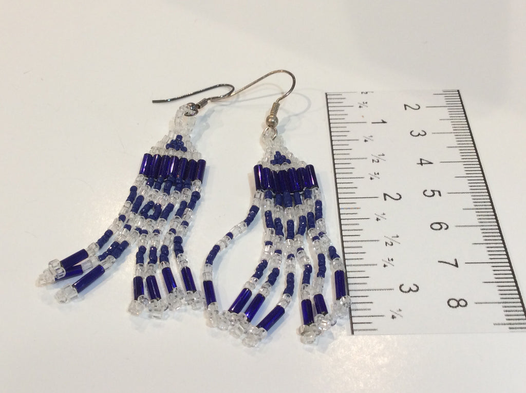 Royal blue and fringe earrings