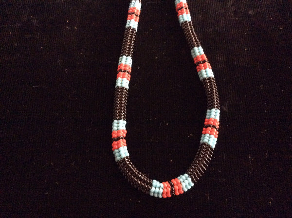 two beaded stitch necklace