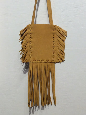 Leather pouch with fringe