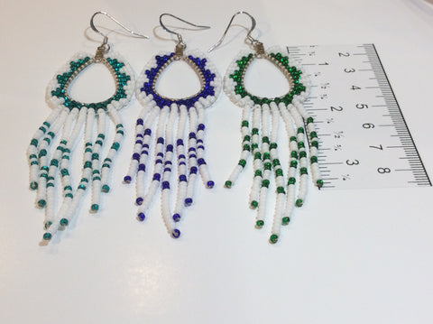 Hollow, tear drop beaded edge fringe earrings