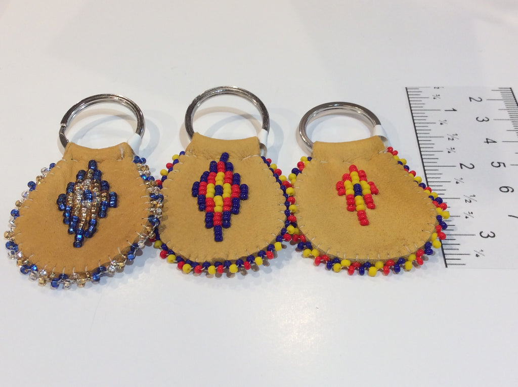 Beaded leather keychain