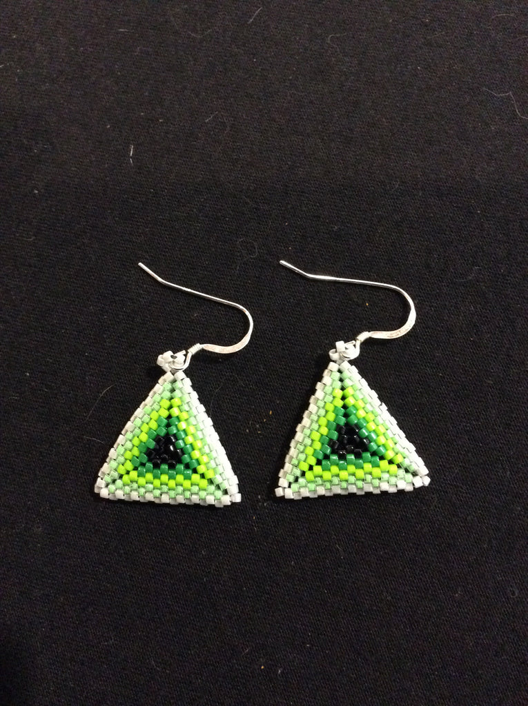 Green black and white triangle earrings